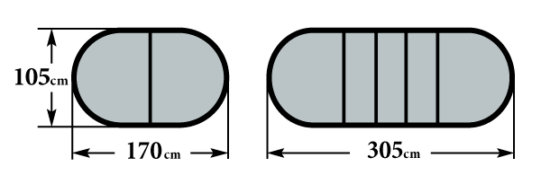 Размер стола Пассаж 1700 3 вставки 105х170(305)